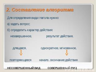 2. Составление алгоритмаДля определения вида глагола нужно:а) задать вопрос;б) о