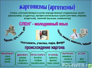 жаргонизмы (арготизмы)Слова, употребляемые в речи определенных социальных групп