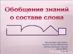 Обобщение знаний о составе слова Презентацию подготовила Чулкова Наталья Михайло