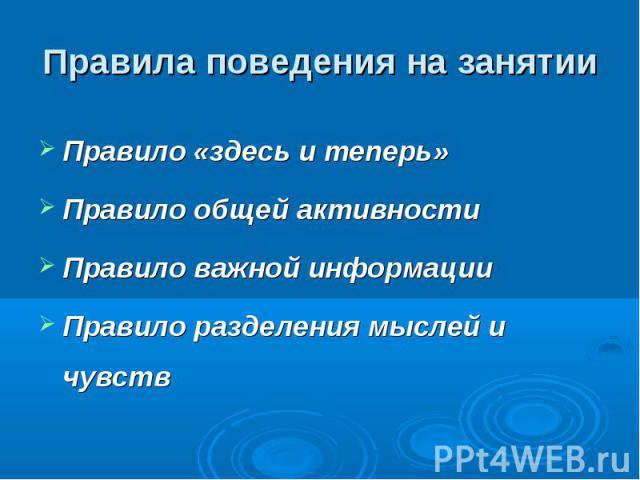 Правила поведения на занятии Правило «здесь и теперь» Правило общей активности Правило важной информации Правило разделения мыслей и чувств
