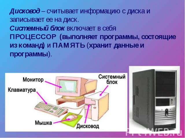 Дисковод – считывает информацию с диска и записывает ее на диск. Системный блок включает в себя ПРОЦЕССОР (выполняет программы, состоящие из команд) и ПАМЯТЬ (хранит данные и программы).