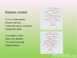 Корень словаЕсть у слова корень,Ветви и листва,Ствол как смысл, которымНаша речь