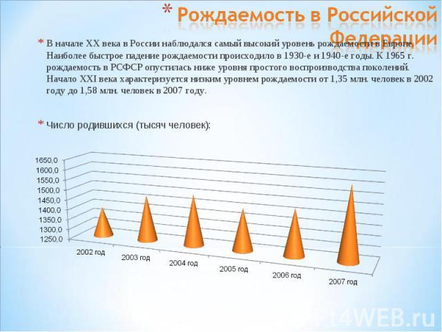 Рождаемость в Российской ФедерацииВ начале XX века в России наблюдался самый высокий уровень рождаемости в Европе. Наиболее быстрое падение рождаемости происходило в 1930-е и 1940-е годы. К 1965 г. рождаемость в РСФСР опустилась ниже уровня простого…