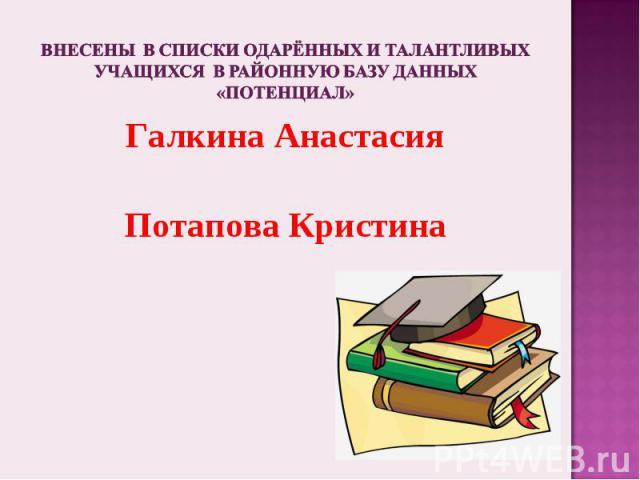 Внесены в списки одарённых и талантливых учащихся в районную базу данных «Потенциал»Галкина АнастасияПотапова Кристина