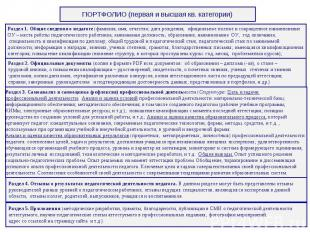 ПОРТФОЛИО (первая и высшая кв. категории)Раздел 1. Общие сведения о педагоге (фа