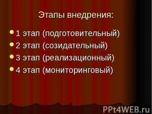 Этапы внедрения:1 этап (подготовительный) 2 этап (созидательный) 3 этап (реализа