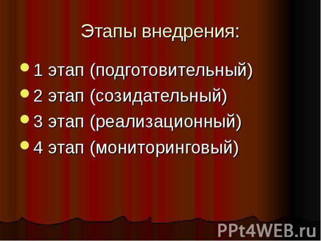 Этапы внедрения:1 этап (подготовительный) 2 этап (созидательный) 3 этап (реализационный)4 этап (мониторинговый)