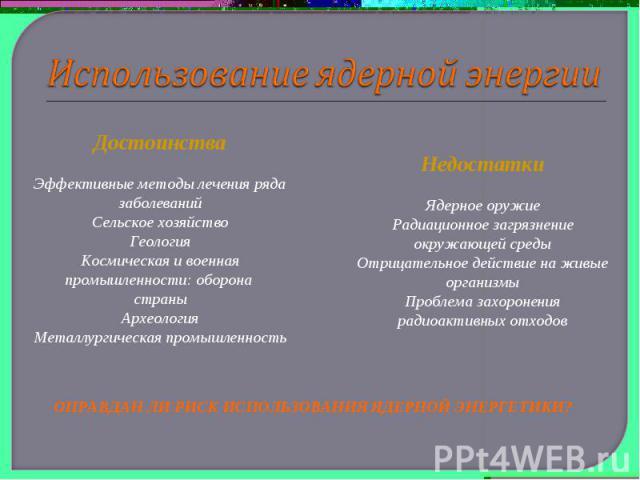 Использование ядерной энергииДостоинстваЭффективные методы лечения ряда заболеванийСельское хозяйствоГеологияКосмическая и военная промышленности: оборона страныАрхеологияМеталлургическая промышленностьНедостаткиЯдерное оружиеРадиационное загрязнени…