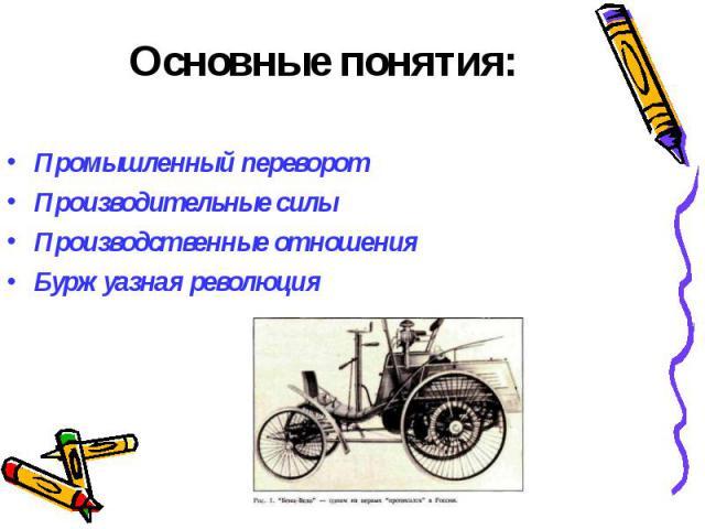 Основные понятия:Промышленный переворотПроизводительные силыПроизводственные отношенияБуржуазная революция