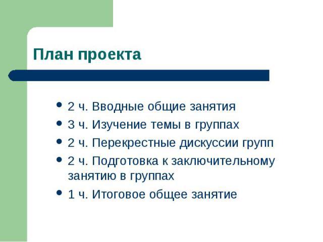 План проекта 2 ч. Вводные общие занятия3 ч. Изучение темы в группах2 ч. Перекрестные дискуссии групп2 ч. Подготовка к заключительному занятию в группах1 ч. Итоговое общее занятие