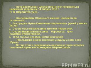 Петр Васильевич Шереметев не мог похвалиться надежным здоровьем 14 января 1916 г