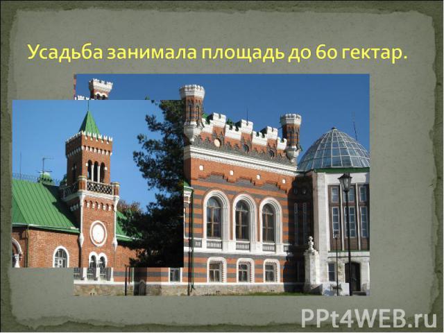 Усадьба занимала площадь до 60 гектар.
