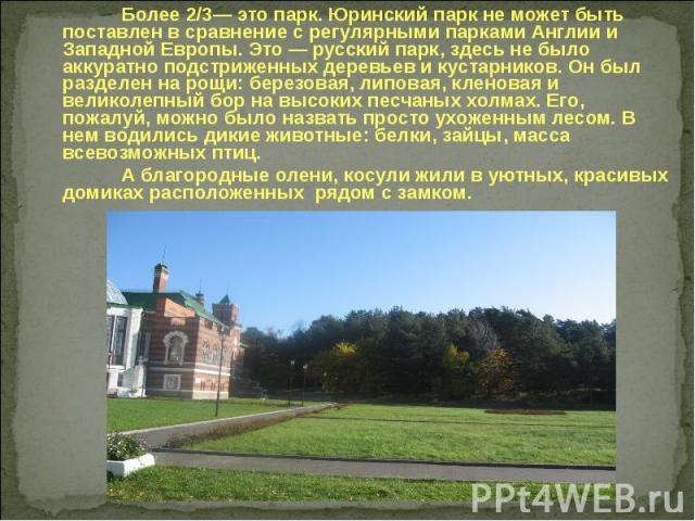 Более 2/3— это парк. Юринский парк не может быть поставлен в сравнение с регулярными парками Англии и Западной Европы. Это — русский парк, здесь не было аккуратно подстриженных деревьев и кустарников. Он был разделен на рощи: березовая, липовая, кле…