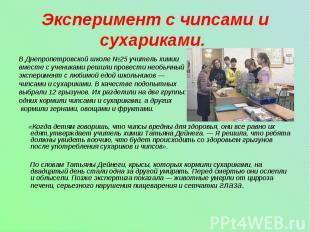 Эксперимент с чипсами и сухариками. В Днепропетровской школе №25 учитель химии в