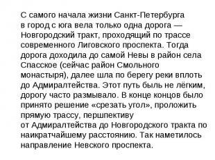С самого начала жизни Санкт-Петербурга вгород сюга вела только одна дорога— Н
