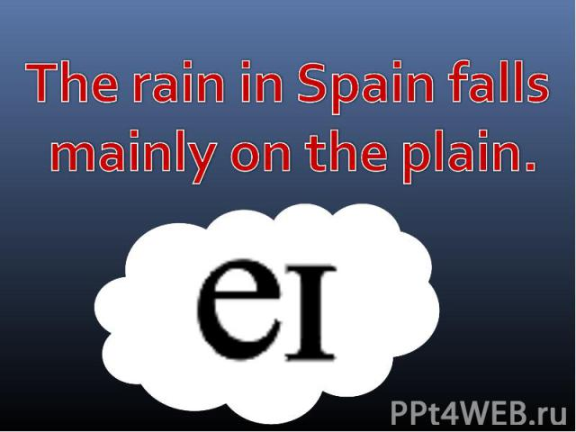 The rain in Spain falls mainly on the plain.