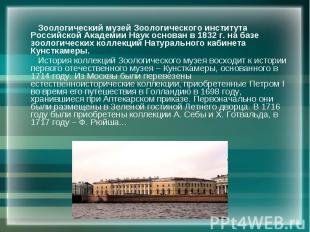 Зоологический музей Зоологического института Российской Академии Наук основан в