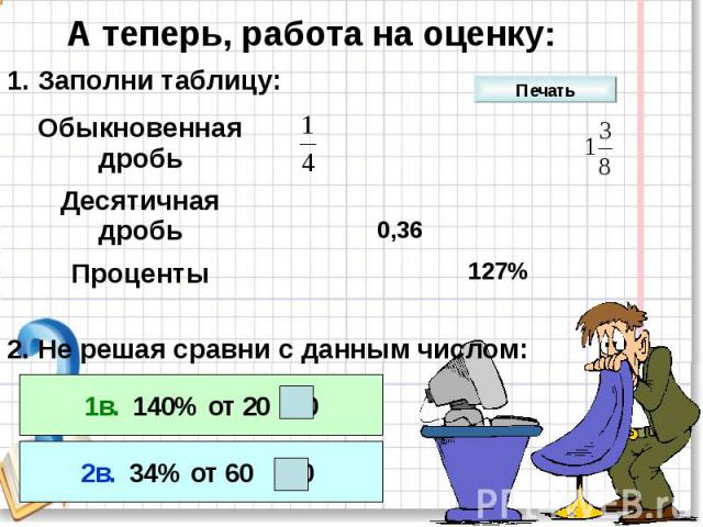 А теперь, работа на оценку:1. Заполни таблицу:2. Не решая сравни с данным числом: