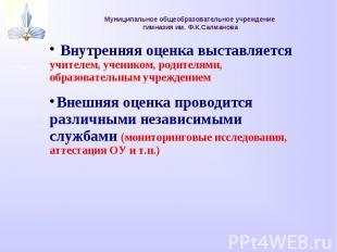 Муниципальное общеобразовательное учреждение гимназия им. Ф.К.Салманова Внутренн