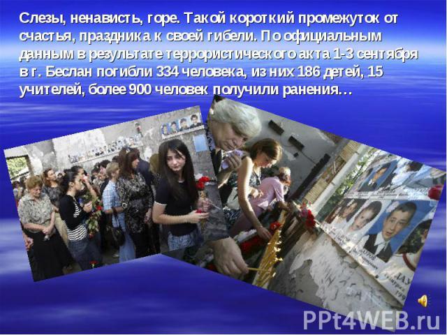 Слезы, ненависть, горе. Такой короткий промежуток от счастья, праздника к своей гибели. По официальным данным в результате террористического акта 1-3 сентября в г. Беслан погибли 334 человека, из них 186 детей, 15 учителей, более 900 человек получил…