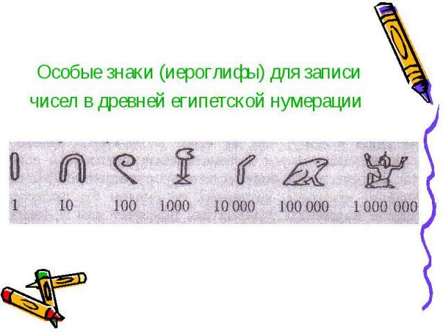 Особые знаки (иероглифы) для записи чисел в древней египетской нумерации