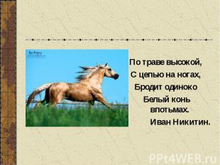 По траве высокой, С цепью на ногах, Бродит одиноко Белый конь впотьмах. Иван Ник