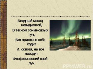 Бледный месяц невидимкой, В тесном сонме сизых туч, Без приюта в небе ходит И, с