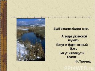 Ещё в полях белеет снег, А воды уж весной шумят- Бегут и будят сонный брег, Бегу
