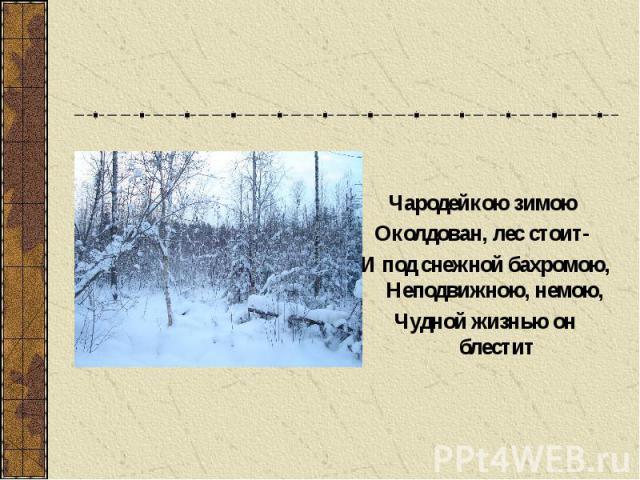 Чародейкою зимою Околдован, лес стоит- И под снежной бахромою, Неподвижною, немою, Чудной жизнью он блестит