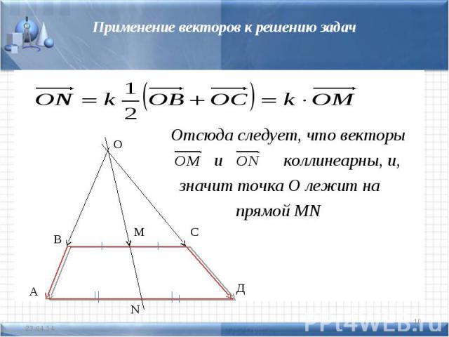 Применение векторов к решению задач Отсюда следует, что векторы и коллинеарны, и, значит точка О лежит на прямой MN