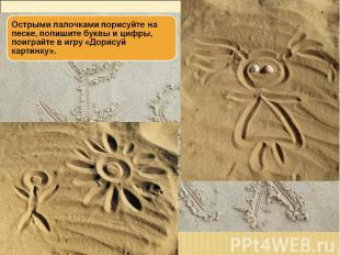 Острыми палочками порисуйте на песке, попишите буквы и цифры, поиграйте в игру «