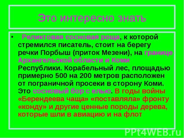 Это интересно знать Реликтовая сосновая роща, к которой стремился писатель, стоит на берегу речки Порбыш (приток Мезени), на границе Архангельской области и Коми Республики. Корабельный лес, площадью примерно 500 на 200 метров расположен от пограни…