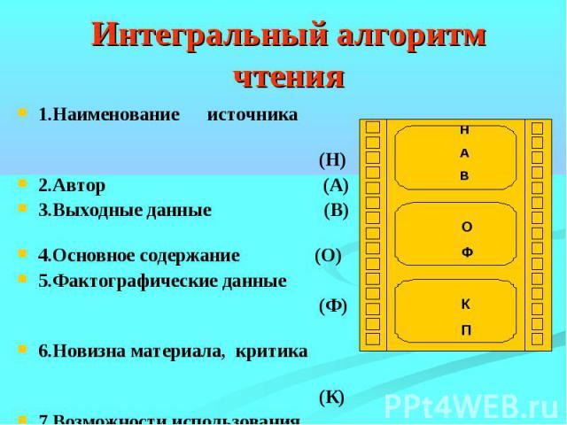Интегральный алгоритм чтения1.Наименование источника (Н)2.Автор (А)3.Выходные данные (В) 4.Основное содержание (О)5.Фактографические данные (Ф) 6.Новизна материала, критика (К) 7.Возможности использования на практике (П)