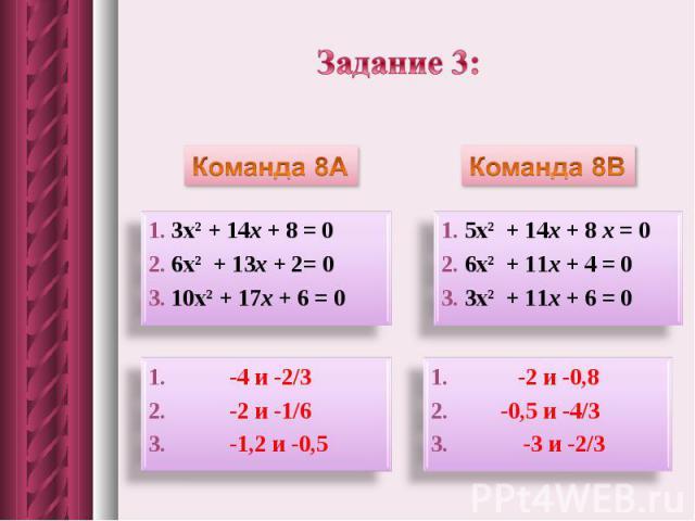 Задание 3: Команда 8А1. 3х2 + 14x + 8 = 02. 6х2 + 13x + 2= 03. 10х2 + 17x + 6 = 01. -4 и -2/32. -2 и -1/6 3. -1,2 и -0,5Команда 8В1. 5х2 + 14x + 8 x = 02. 6х2 + 11x + 4 = 03. 3х2 + 11x + 6 = 01. -2 и -0,82. -0,5 и -4/33. -3 и -2/3
