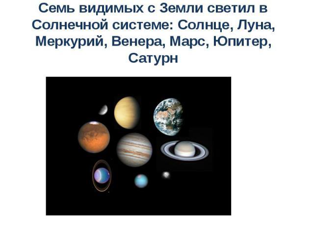 Семь видимых с Земли светил в Солнечной системе: Солнце, Луна, Меркурий, Венера, Марс, Юпитер, Сатурн