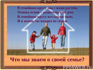 В семейном кругу мы с вами растем, Основа основ – родительский дом. В семейном к