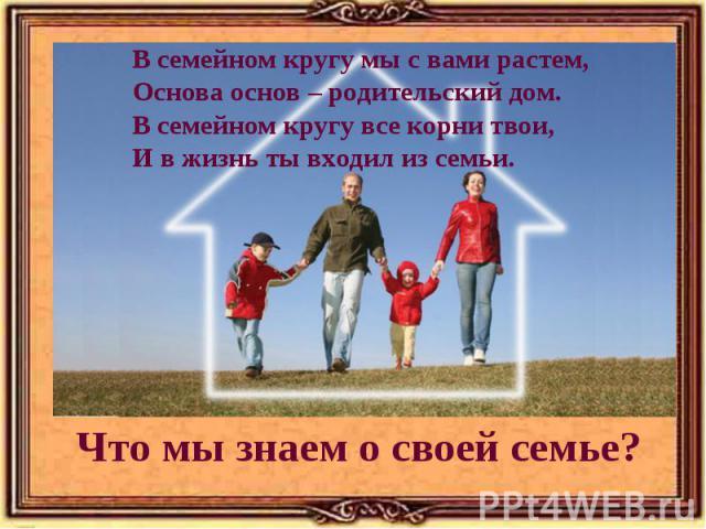 В семейном кругу мы с вами растем, Основа основ – родительский дом. В семейном кругу все корни твои, И в жизнь ты входил из семьи.Что мы знаем о своей семье?