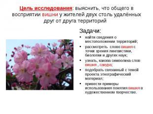 Цель исследования: выяснить, что общего в восприятии вишни у жителей двух столь