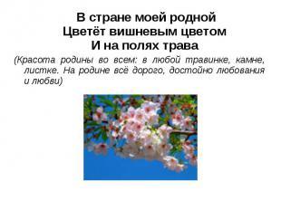 В стране моей роднойЦветёт вишневым цветомИ на полях трава(Красота родины во все