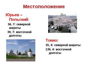 МестоположениеЮрьев – Польский: 56, 7⁰ северной широты 39, 7⁰ восточной долготы