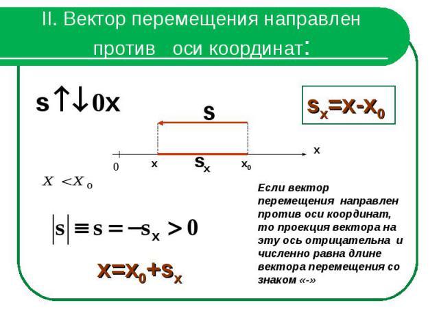 II. Вектор перемещения направлен против оси координат:Если вектор перемещения направлен против оси координат, то проекция вектора на эту ось отрицательна и численно равна длине вектора перемещения со знаком «-»