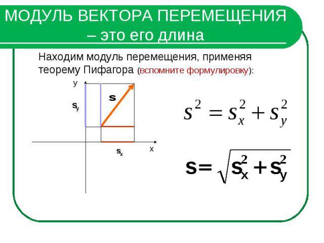 МОДУЛЬ ВЕКТОРА ПЕРЕМЕЩЕНИЯ – это его длинаНаходим модуль перемещения, применяя теорему Пифагора (вспомните формулировку):