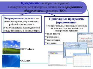 Программы - наборы инструкций. Совокупность всех программ составляет программно