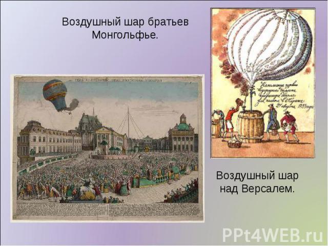 Воздушный шар братьев Монгольфье. Воздушный шар над Версалем.