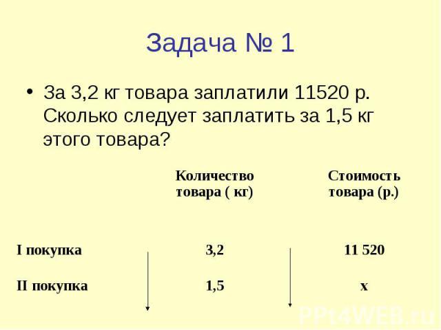 Задача № 1 За 3,2 кг товара заплатили 11520 р. Сколько следует заплатить за 1,5 кг этого товара?