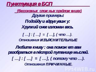 Пунктуация в БСП (бессоюзных сложных предложениях) [ …] : [ …] = [ …], ( что …).