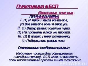 Пунктуация в БСП (бессоюзных сложных предложениях) Другие примеры: I. (1) И небо