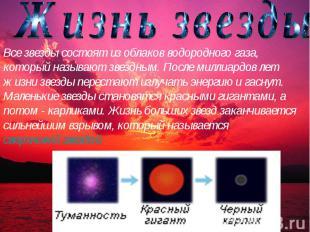 Жизнь звезды Все звезды состоят из облаков водородного газа, который называют зв