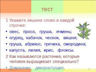 тест1 Укажите лишнее слово в каждой строчке: овес, просо, груша, ячмень; огурец,