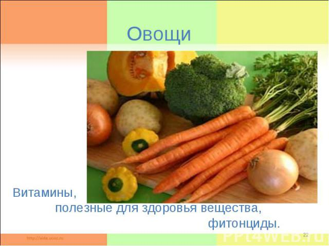 Овощи Витамины, полезные для здоровья вещества, фитонциды.